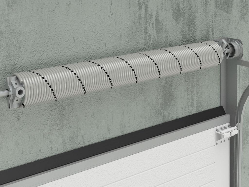 Торсионный механизм, рассчитанный на 25 000 циклов. Долговечность конструкции обеспечивает открывание и закрывание полотна ворот без усилий.