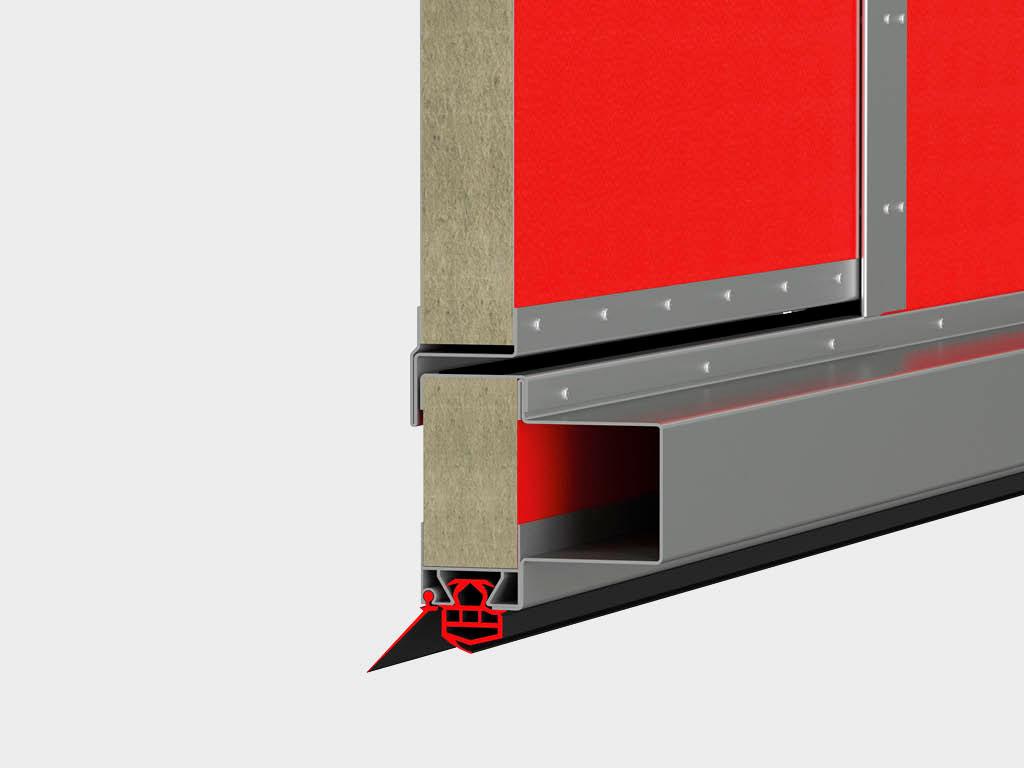 Для усиления жесткости в зоне калитки используются специальные стальные профили, а увеличенная высота порога калитки обеспечивает дополнительную прочность конструкции.