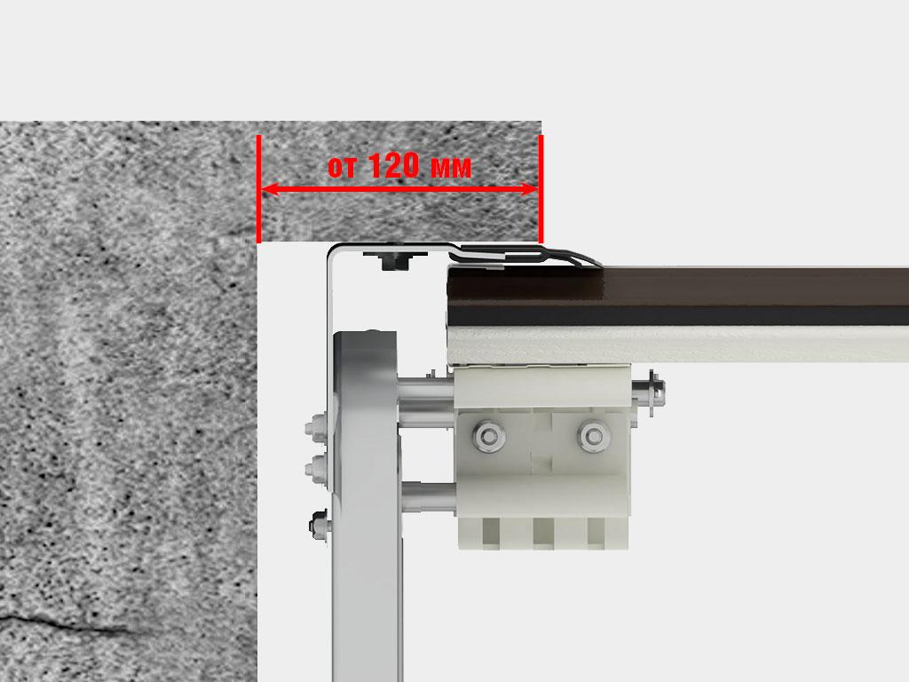 Накладной монтаж: cистема направляющих монтируется на пристенки и притолоку с внутренней стороны проема.