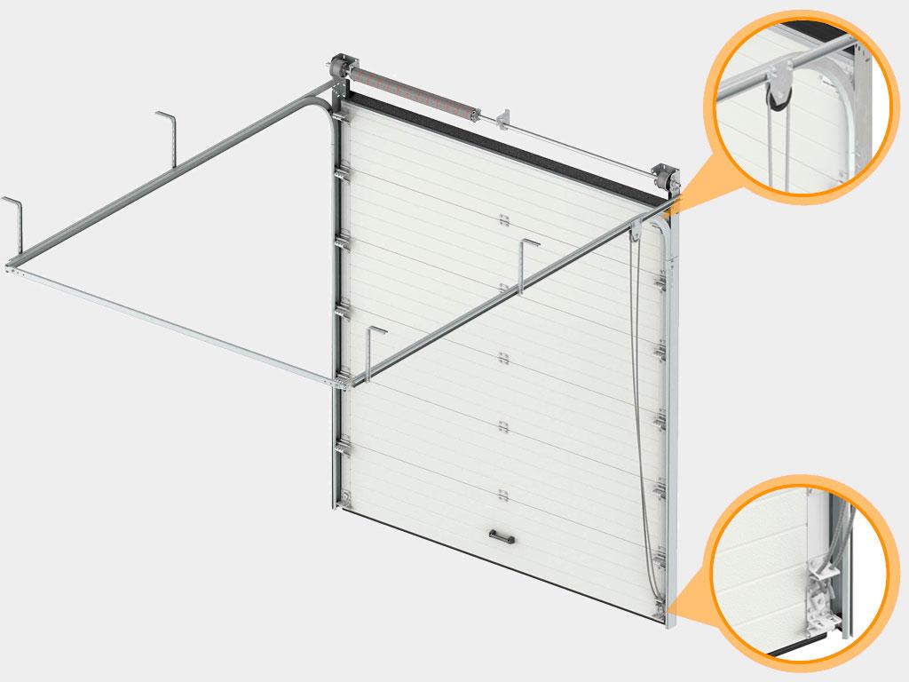 Система ручного веревочного привода позволяет осуществлять подъем и опускание полотна ворот