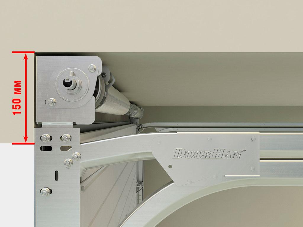 Благодаря новому кронштейну ворота серии RSD02 с системой барабан впереди могут устанавливаться в небольшие