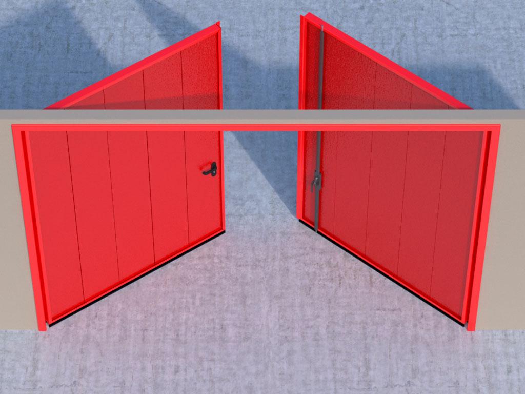 Открывание створок наружу помещения — левая створка активная, правая пассивная.