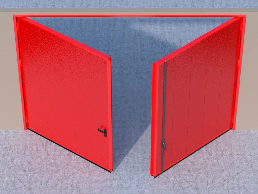 Открывание створок внутрь помещения — левая створка активная, правая пассивная.