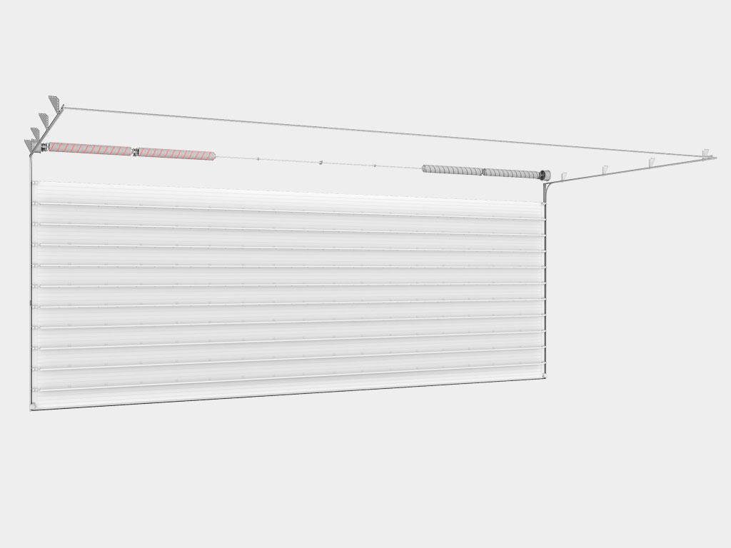 Полотно из алюминиевых сэндвич-панелей толщиной 40 мм с силовыми элементами для надежной фиксации петель, боковых опор