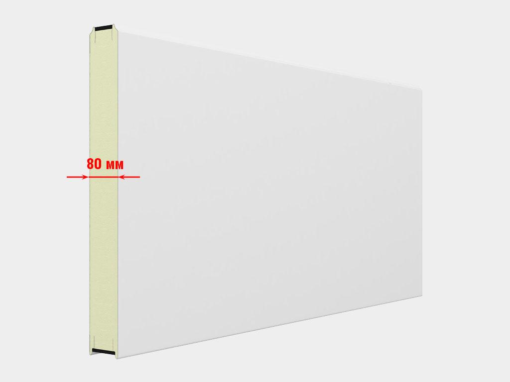 Полотно из сэндвич-панели толщиной 80 мм с пенополиуретановым наполнителем высокой плотности. Листы панели термически разделены вставкой энергофлексового уплотнителя, который препятствует промерзанию стыка панелей.