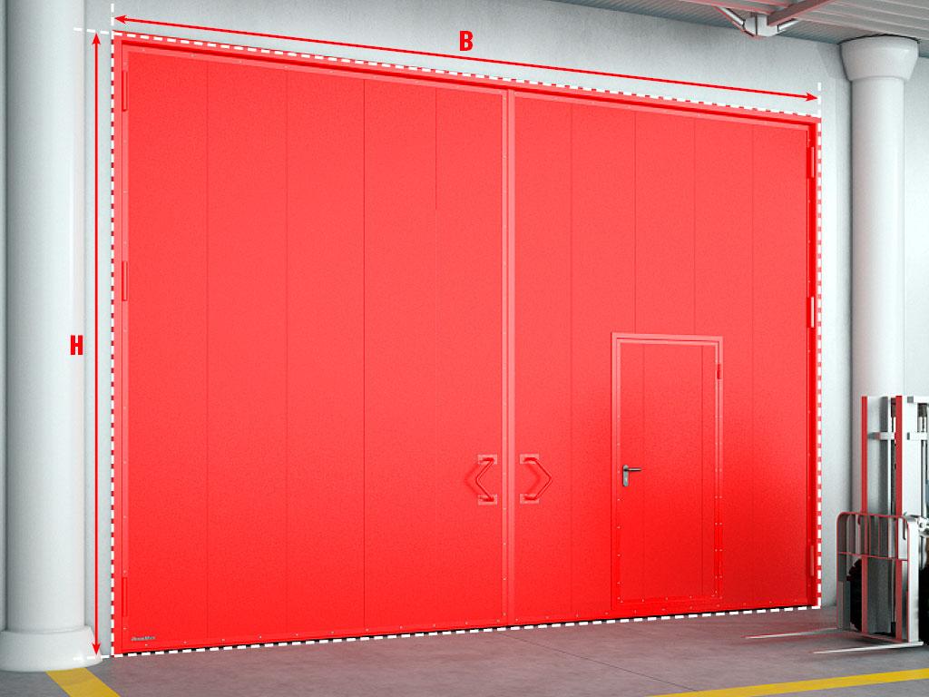 Противопожарные распашные ворота с калиткой.