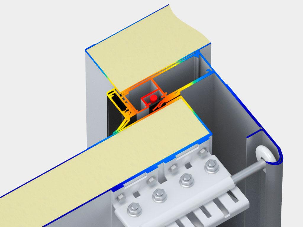 Система обогрева контура проема представляет собой силовой каркас, выполненный из алюминиевого профиля, внутри которого размещается греющий ПЭН-провод, что позволяет избежать примерзания полотна ворот к проему. Помимо этого по нижней кромке полотна ворот также пускается греющий кабель. Таким образом получается замкнутый греющий контур по всему периметру проема.