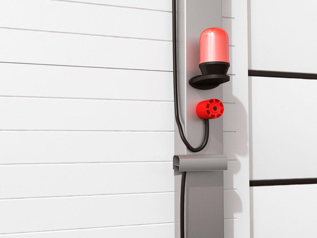 Для безопасной работы ворот установлена световая и звуковая сигнализации, которые включаются при работе мотор-редукторов. ДорХан