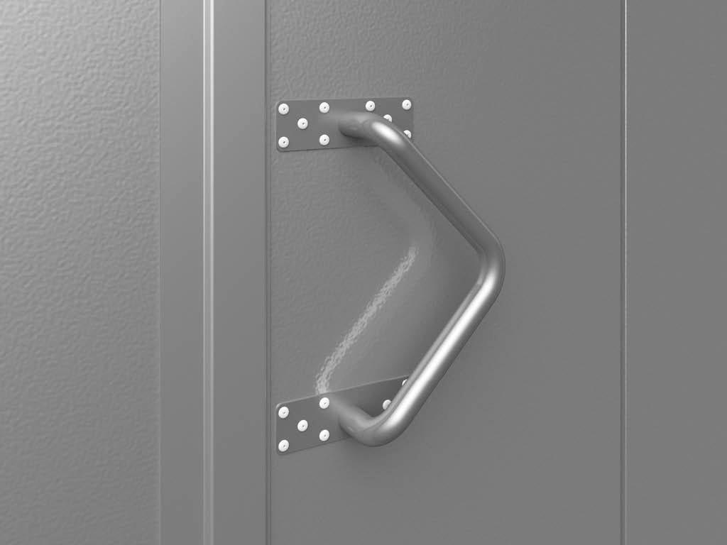 Для распашных гаражных ворот представлена возможность выбора установки алюминиевой ручки на створках, позволяющей открывать ворота как с внутренней, так и с внешней стороны