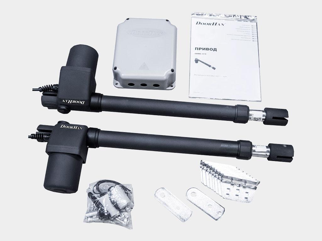 Два электроприводa, блок управления в корпусе, крепежные элементы, ключ расцепителя ДорХан