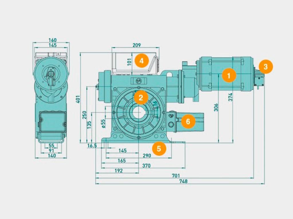 1. Mотор приводa 2. Редуктор привода 3. Механизм аварийного открывания 4. Блок управления 5. Кронштейн крепления 6. Концевые выключатели ДорХан