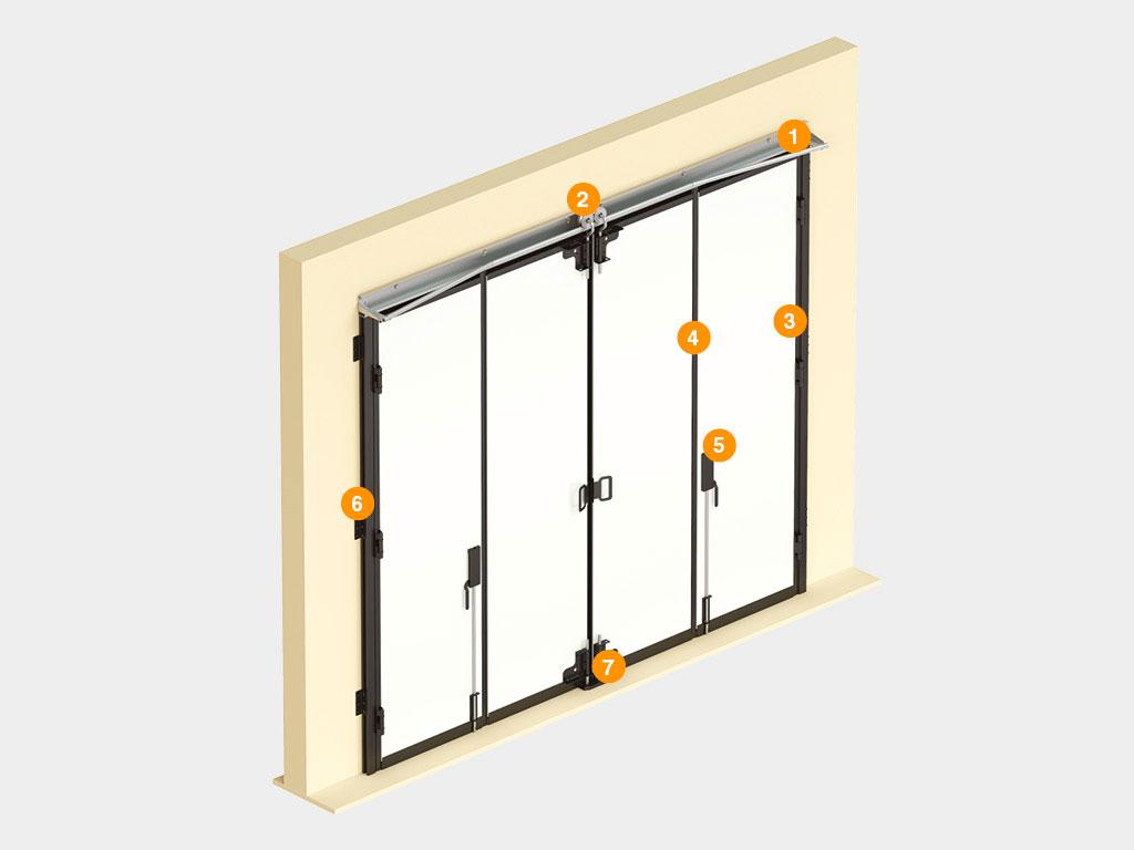 Конструкция-Промышленные-складные-ворота-без-нижней-направляющей ДорХан