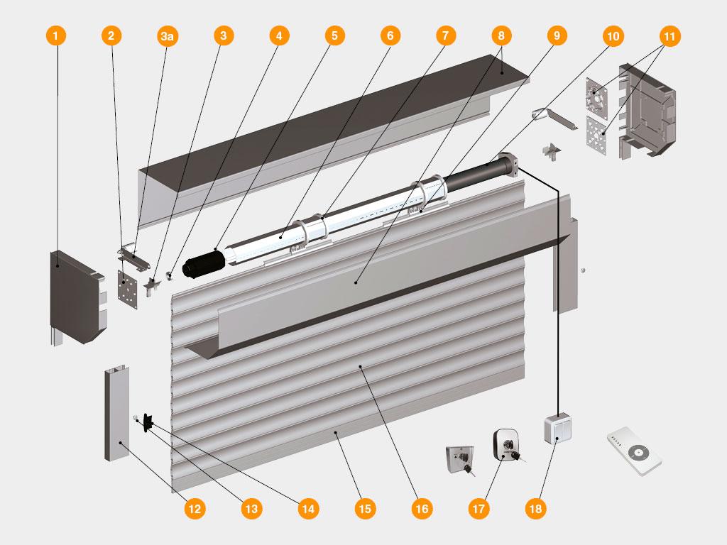 Конструкция-Рольворота-из-решетчатого-экструдированного-профиля-RHE78G-с-прозрачными-вставками ДорХан