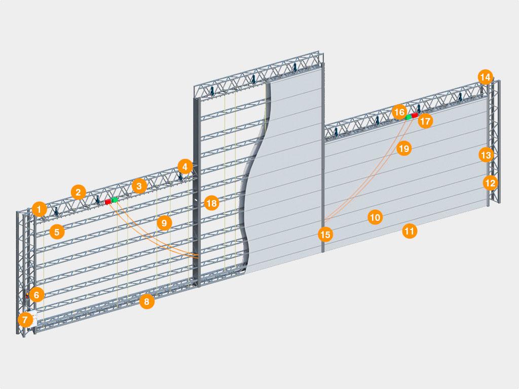 Конструкция-Ворота-шторные-подъемные-серии-HD20_40-с-поворотной-колонной ДорХан