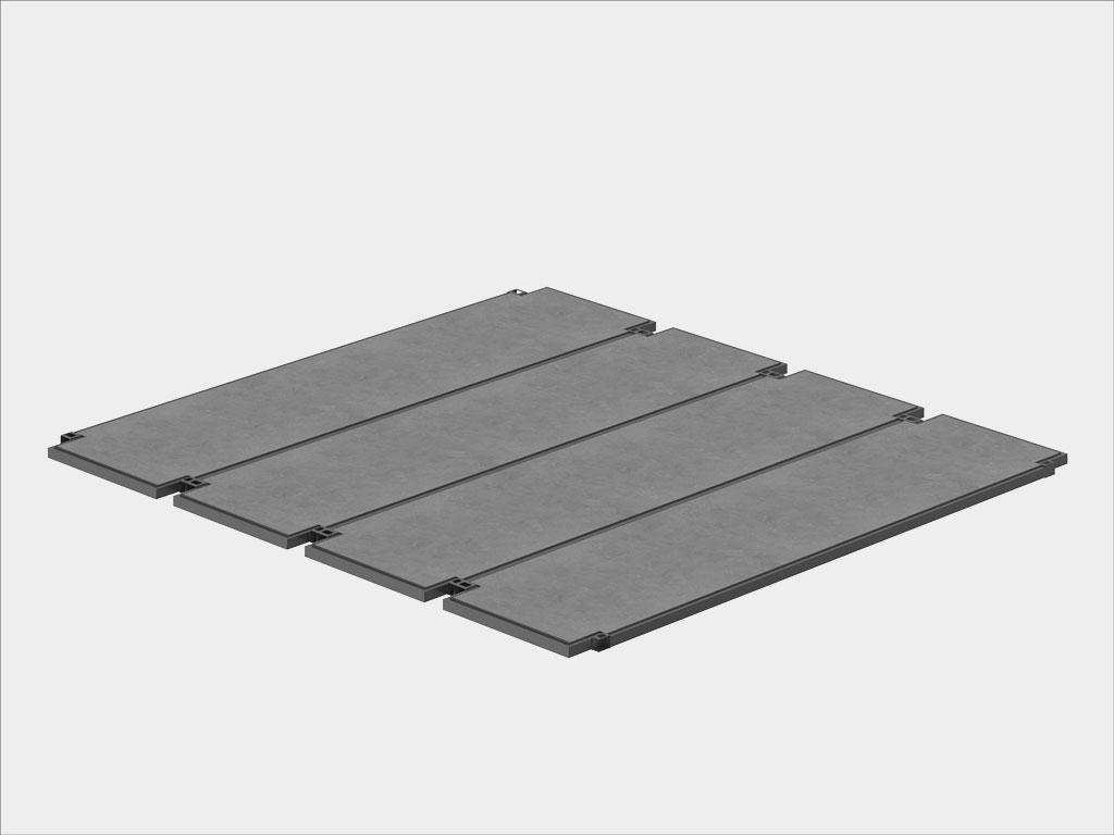 Модульные перекрытия; защитые ЦСП/профлист, утепленные на 100 мм минватой плотностью 35—45 кг/м³