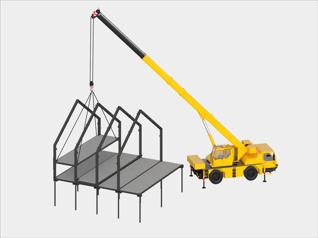 Монтаж модульных перекрытий 2-го этажа. Модули перекрытия 1-го этажа устанавливаются до монтажа рам каркаса. См. инструкцию по монтажу каркаса дома.