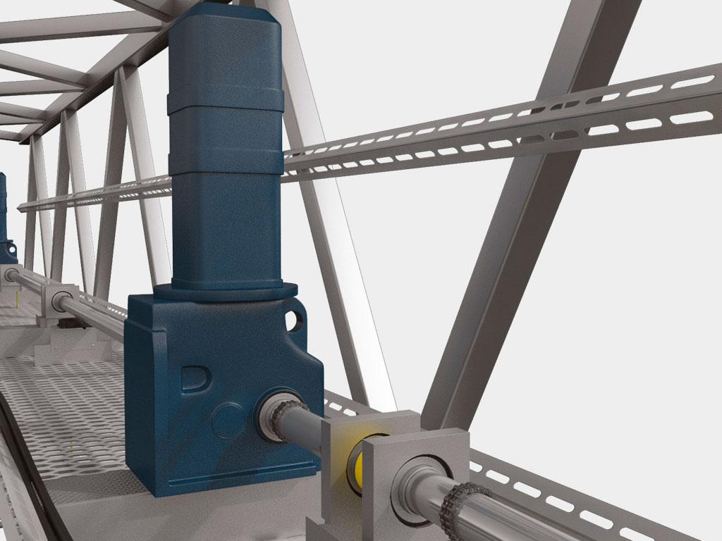 Мотор-редукторы и барабаны опираются на надворотную балку металлоконструкции строительной части ангара. ДорХан