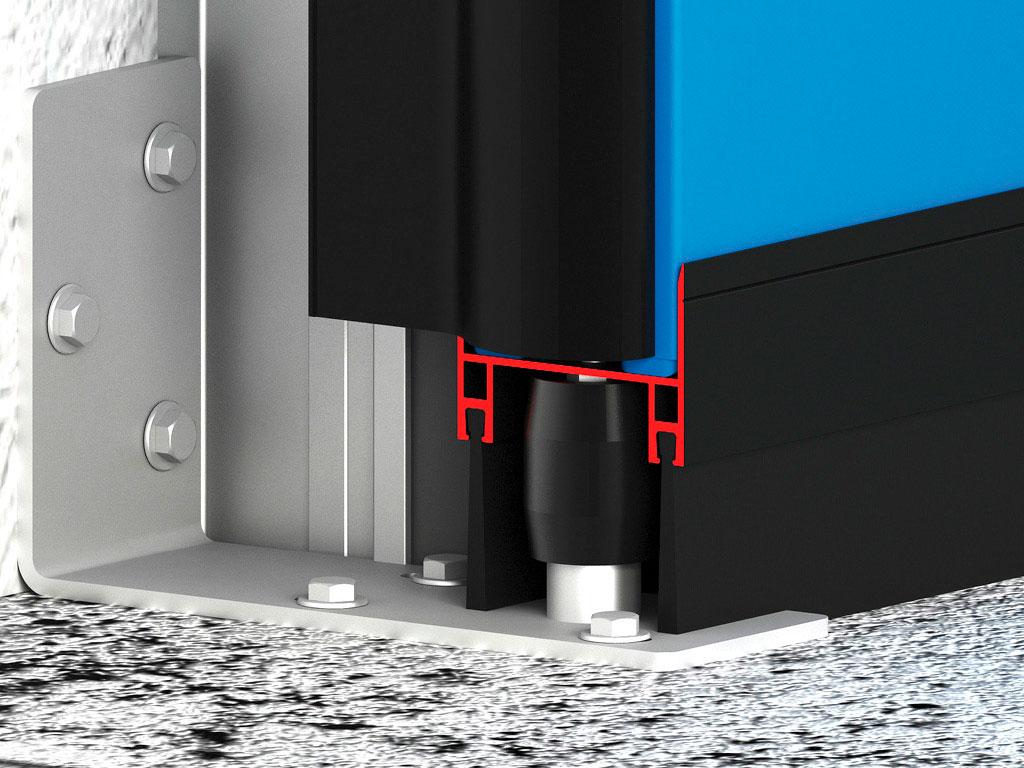 Нижний ролик увеличивает устойчивость полотна к ветровым нагрузкам и препятствует раскачиванию полотна при движении. ДорХан