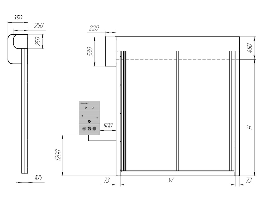 Общий вид ворот с приводом сбоку (привод слева / привод справа) ДорХан