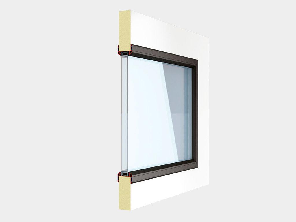 Окно в алюминиевой раме с заполнением прозрачным поликарбонатом толщиной 3 мм. Стандартный цвет рамы ДорХан
