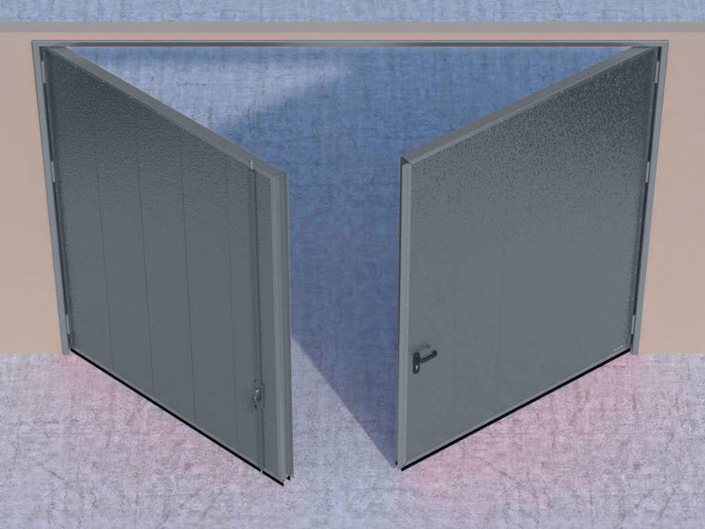 Открывание створок внутрь помещения — левая створка пассивная, правая активная. ДорХан
