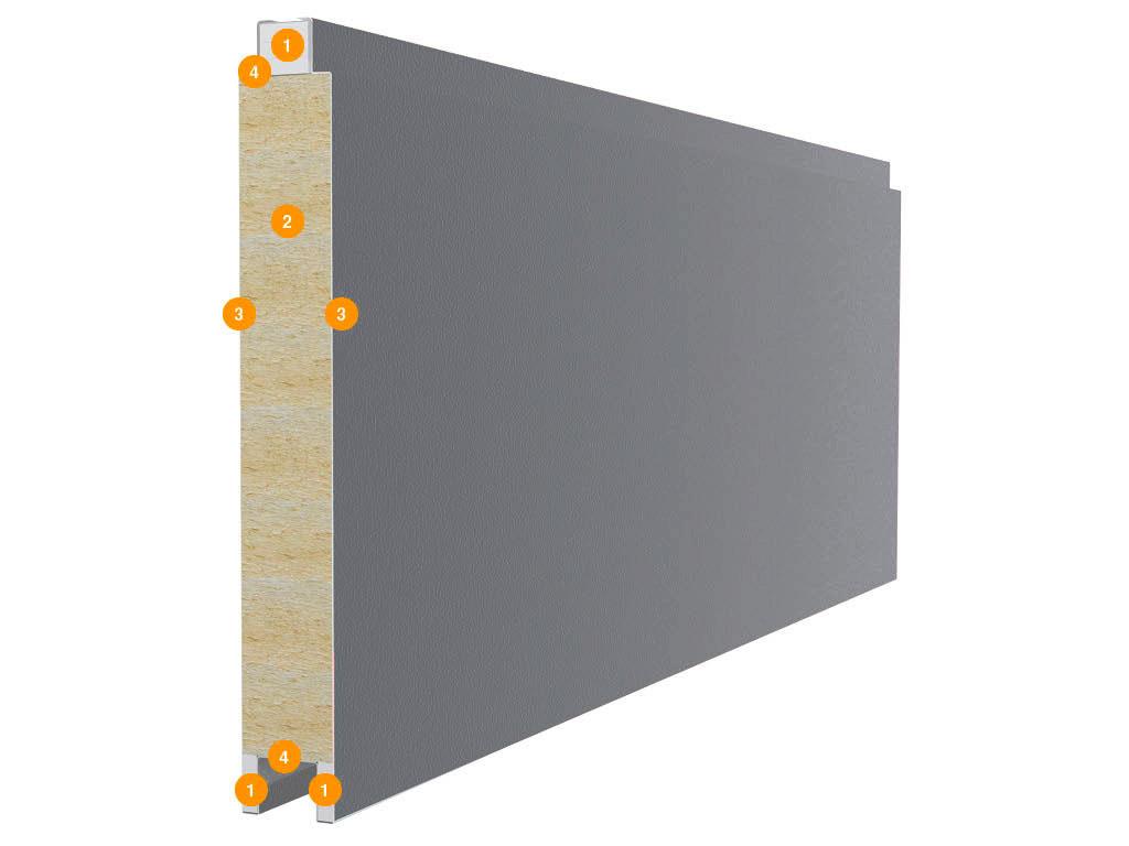Панели распашных гаражных ворот состоят из двух стальных листов и минераловатной прослойки между ними, с боковой стороны закладывается гипсокартон с усиливающими профилями. Конструкция панели: 1) гипсокартон; 2) минераловатная прослойка плотностью 130 кг/м³ 3) стальной лист толщиной 0,5 мм; 4) усиливающие профили.