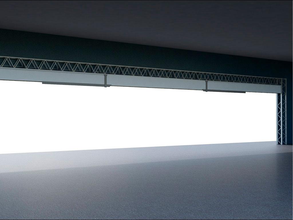 Поворотная колонна перемещается при помощи электрической лебедки, которую дублирует специальное страхующее устройство. В положении ворот «полностью открыто» колонна располагается под полностью собранным полотном в верхней части проема. В положении ворот «полностью закрыто» колонна находится в вертикальном положении. ДорХан