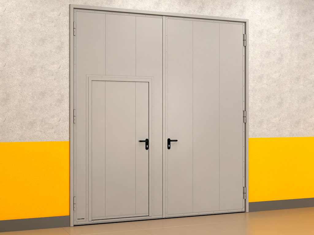 Распашные гаражные ворота из панелей с заполнением минеральной ватой ДорХан