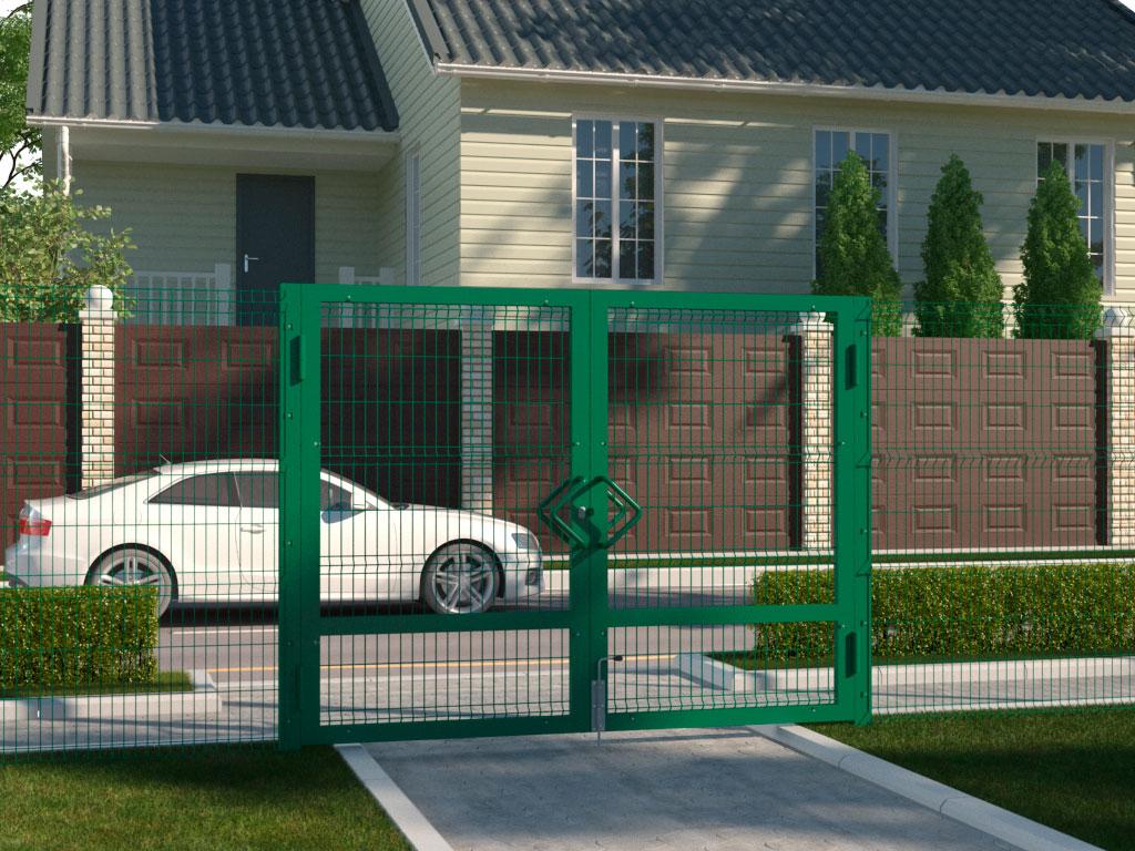 Распашные ворота со стальной рамой и с заполнением сварной сеткой ДорХан