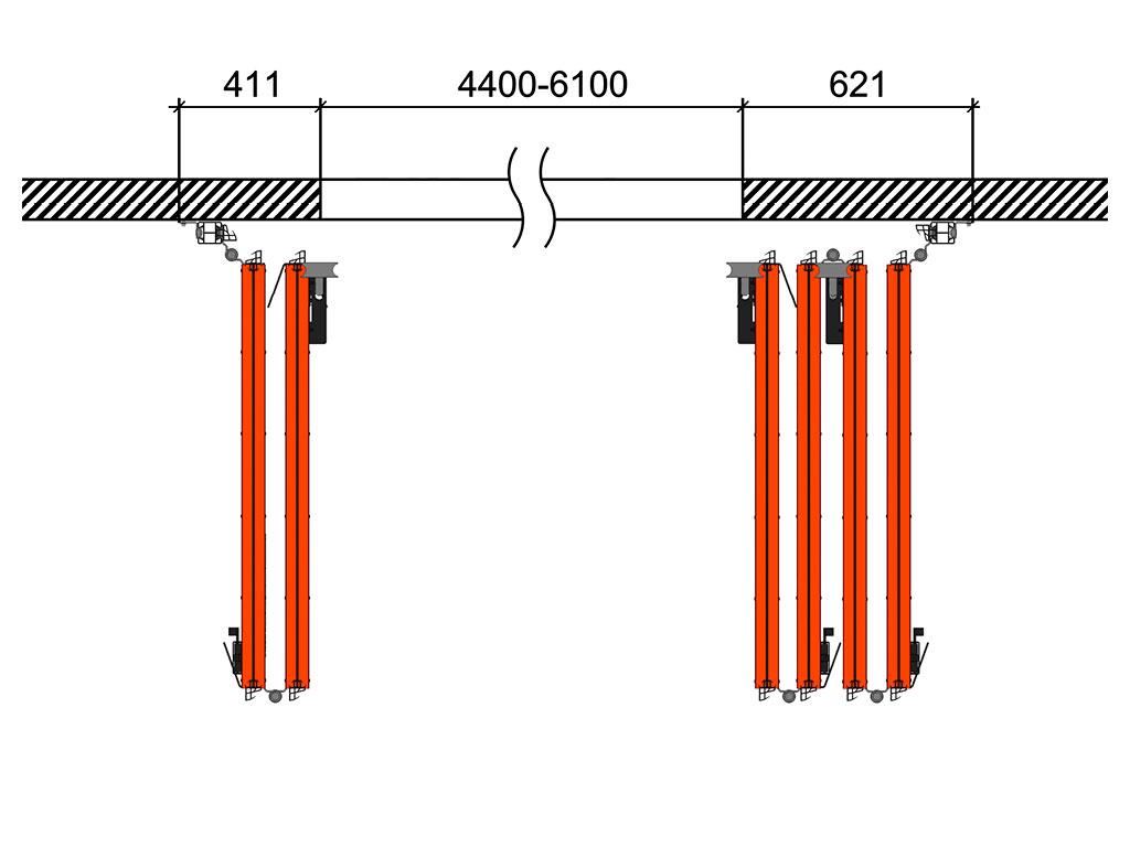 Схема открывания 2 + 4 ДорХан