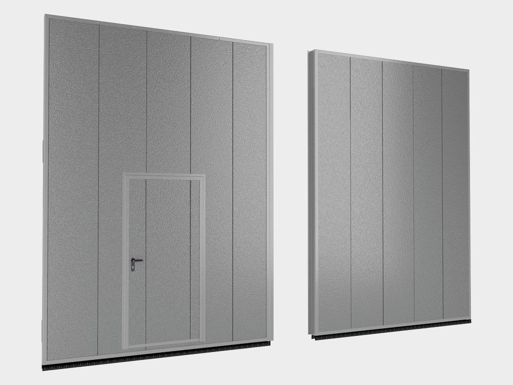 Щит ворот из стальных сэндвич-панелей толщиной 80 мм. Створки ворот поставляются в сборе. ДорХан