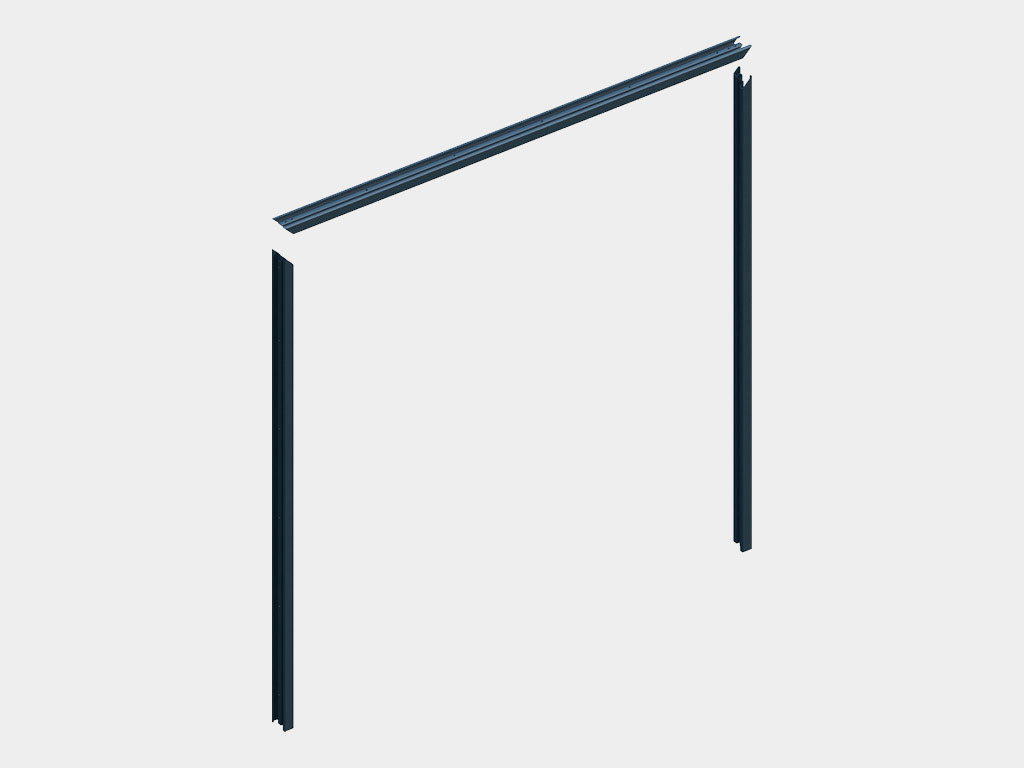 Стальная рама поставляется разобранной (два вертикальных и один горизонтальный профиль) ДорХан