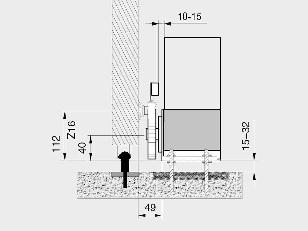Устaнавливается на монтaжную пластину, которaя анкерится в бетонное основание.