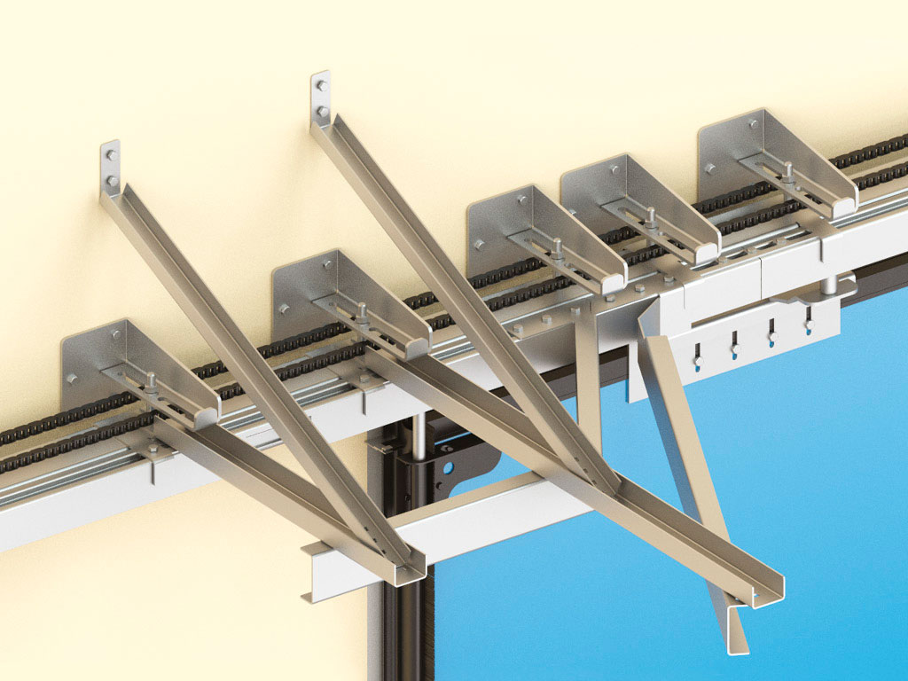 Верхняя направляющая с отклоняющими системами для формирования компактной пачки панелей.