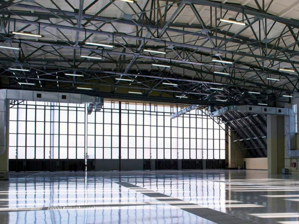 Внутренний вид откатных опорных ворот для проема 55 х 16 м ДорХан