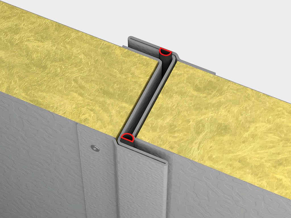 Высокие показатели тепло - и звукоизоляции: сэндвич-панель 80 мм с минеральной ватой высокой плотности, резиновые уплотнители в местах смыкания створок ДорХан