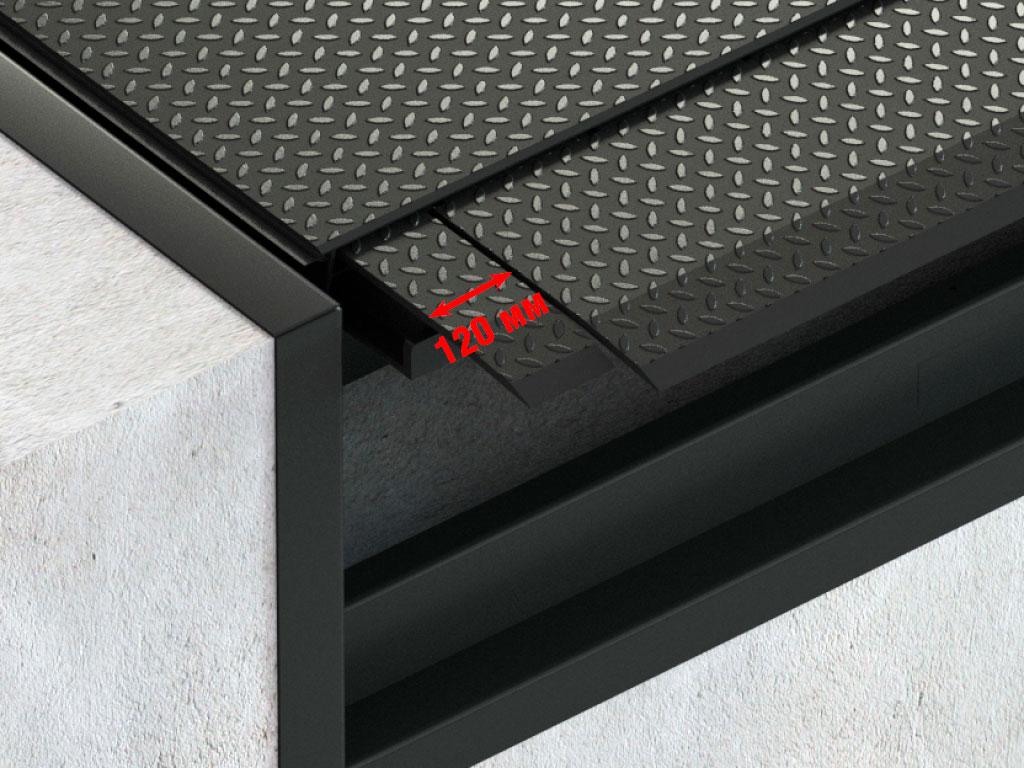 Аппарель сегментированная (3 сегмента). Фаска 35 мм. Исполняется с 3 сегментами. Выдвигаясь целиком, допускает возможность использования центрального, а также одного или двух боковых сегментов. Позволяет использовать платформу с автомобилями, имеющими ширину меньше стандартной. Доступна только для платформ грузоподъемностью 6000 кг.