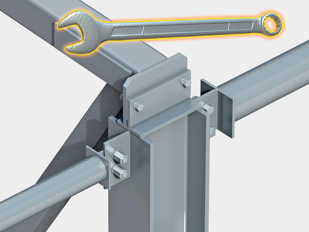 Быстрый монтаж: заводская готовность всех узлов, нет необходимости в проведении сварочных операций на объекте
