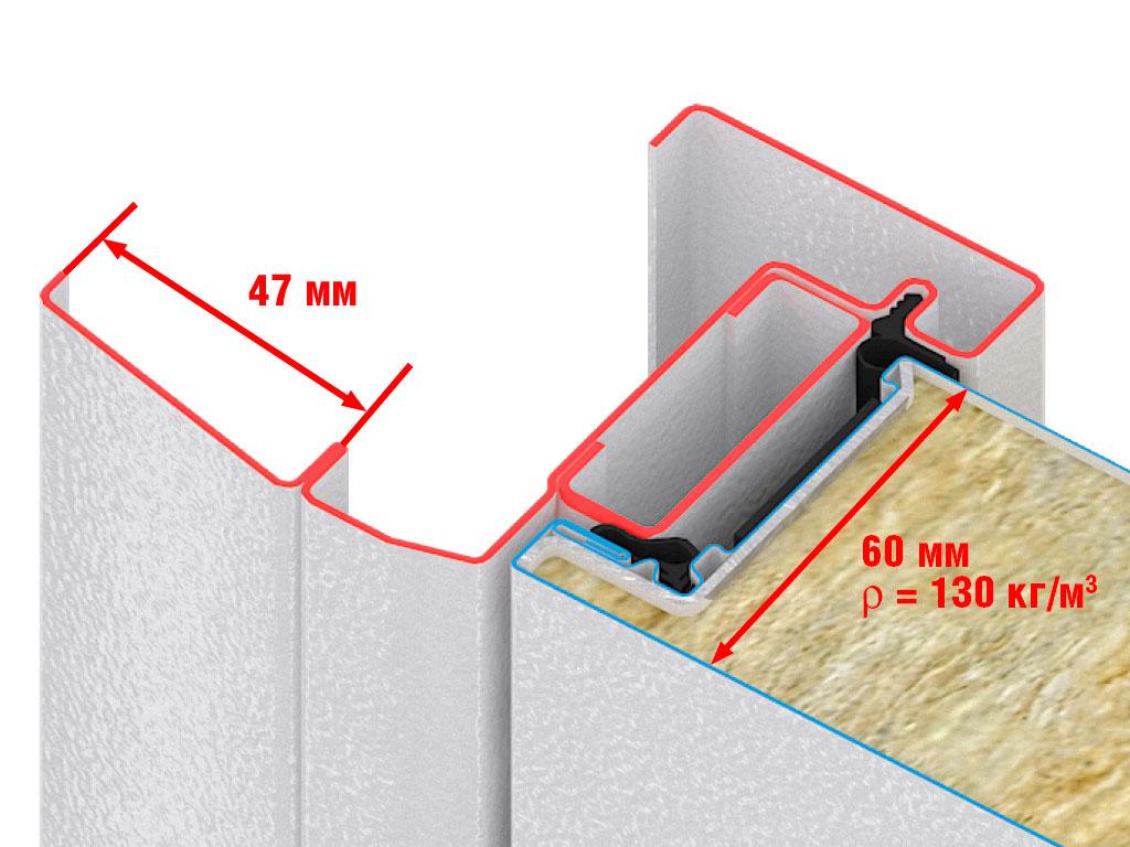Высокопрочное композитное полотно без сварных соединений. Не подвержено коррозии. Наполнение из минераловатной плиты высокой плотности. Высокие показатели тепло- и звукоизоляции, влаго- и воздухонепроницаемости