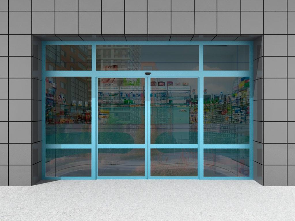 Двустворчатая дверь с двумя неподвижными створками и фрамугой ДорХан