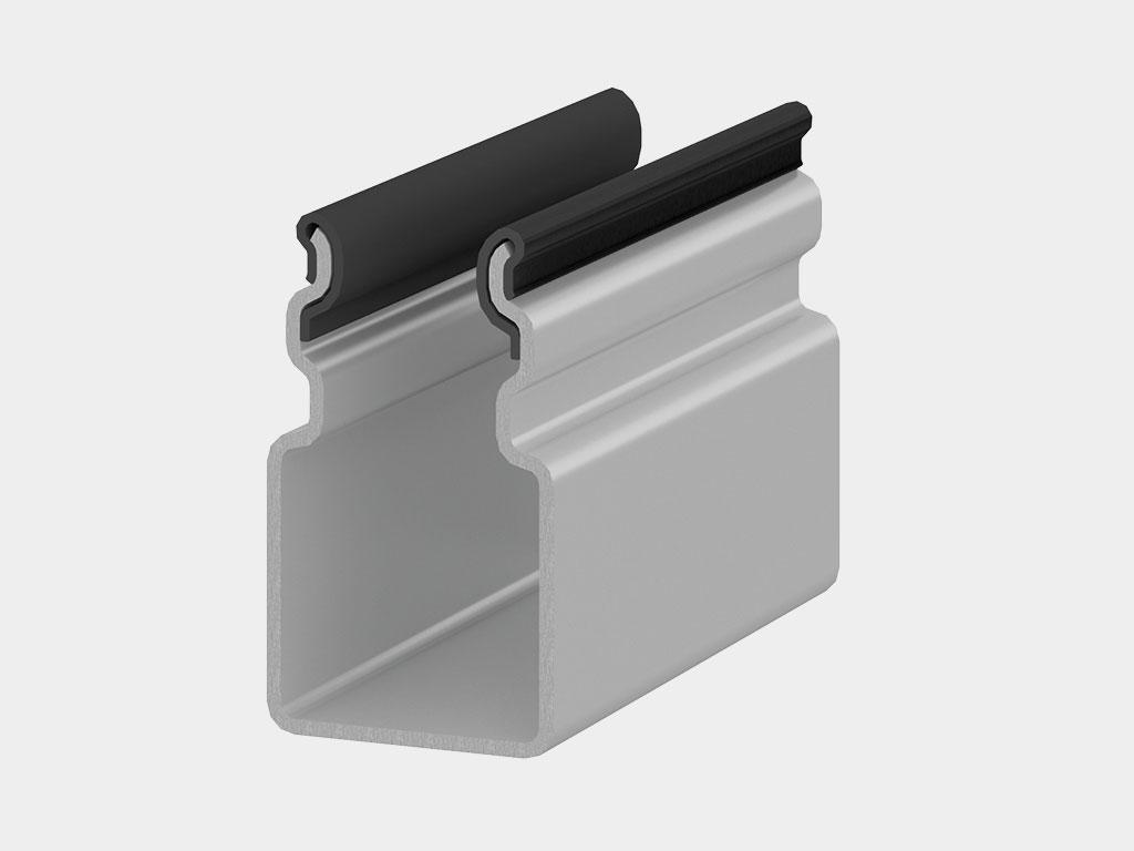 Комплект направляющих профилей. Комплект направляющих профилей состоит из двух стальных направляющих с уплотнителем. Направляющие профили могут быть окрашены в любой из доступных для выбора цветов ДорХан