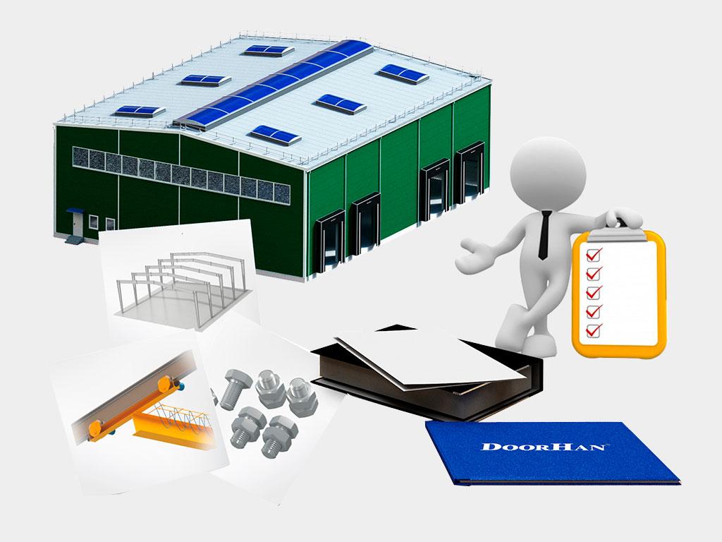 Комплексность поставки: полный набор необходимый для монтажа зданий из металлоконструкций ДорХан