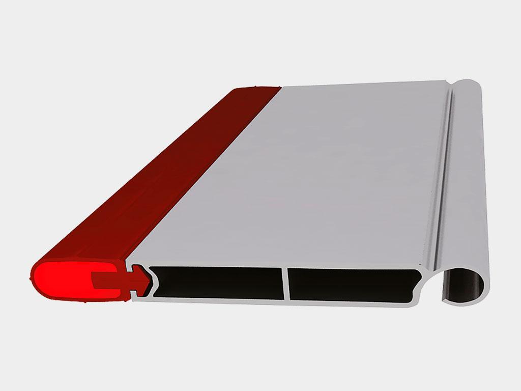 Концевой профиль. Концевой профиль состоит из алюминиевого экструдированного профиля RA120E с толщиной стенки 2,5 мм и нижнего уплотнителя UP4 ДорХан