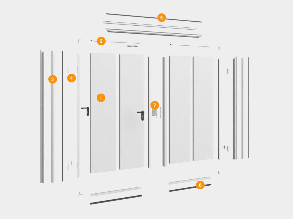 1. Сэндвич-панели 2. Алюминиевый профиль окантовки полотна дверей 3. Алюминиевая рама 4. Петли 5. Декоративные крышки 6. Нижний уплотнитель 7. Врезной замок ДорХан