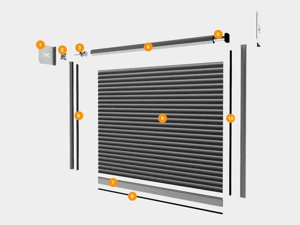 Рулонные ворота из стальных профилей (взломоустойчивые) RH117/08, RHS117P/08 с внутривальным электроприводом ДорХан