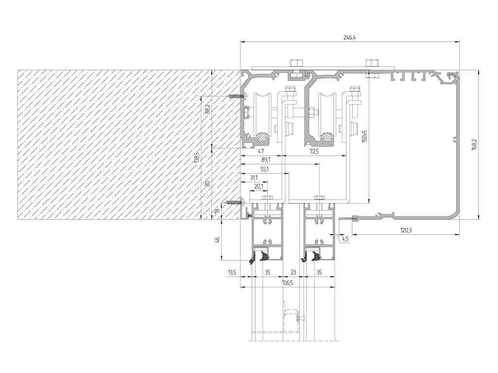 Монтаж короба телескопической двери в проем ДорХан