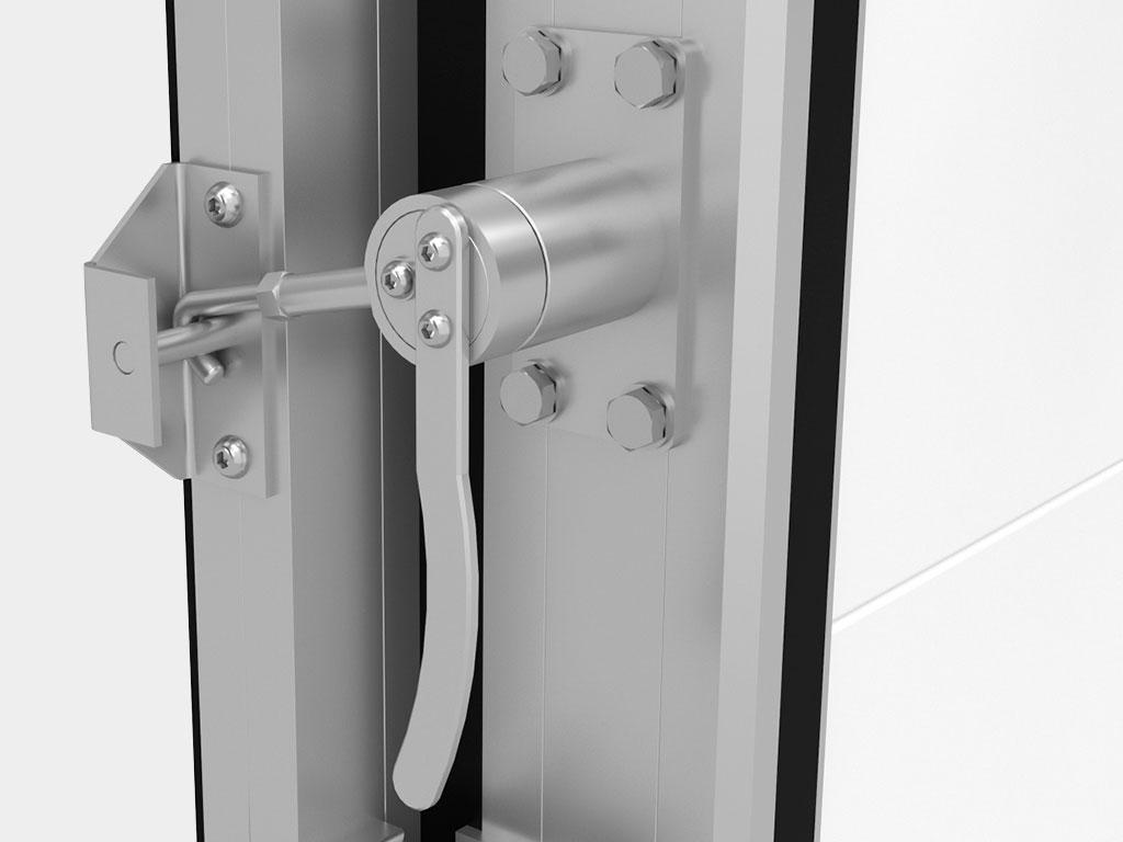 Надёжное запирание дверей обеспечивается установкой эксцентриковых механизмов ДорХан