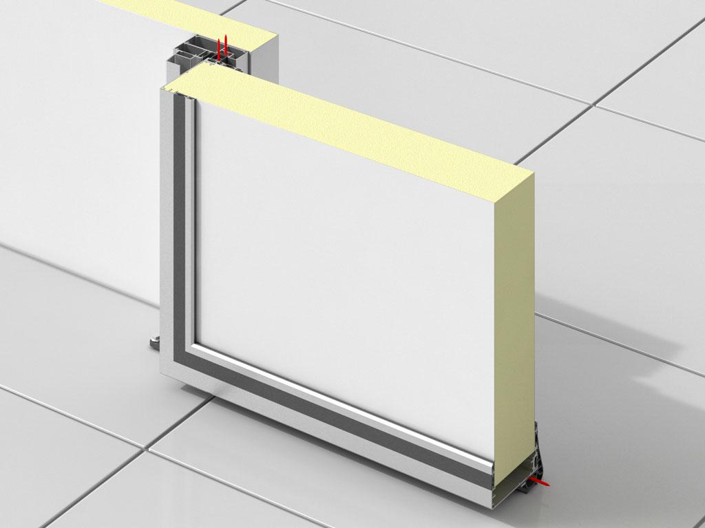 Низкотемпературное-исполнение,-панель-120-мм,-с-обогревом-полотна-Дверь-вертикально-подъемная-для-охлаждаемых-помещений ДорХан