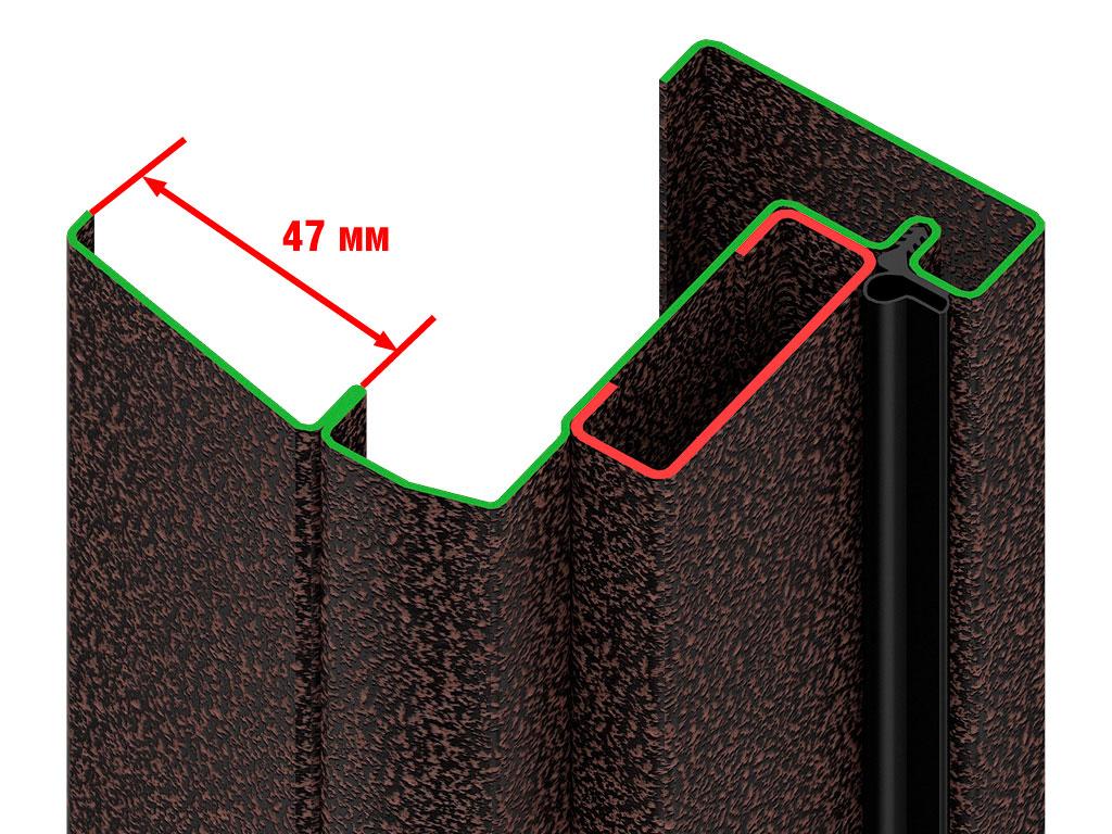 Оцинкованная стальная рама из цельногнутого профиля 1,5 мм. Широкий С-образный наличник шириной 47 мм ДорХан