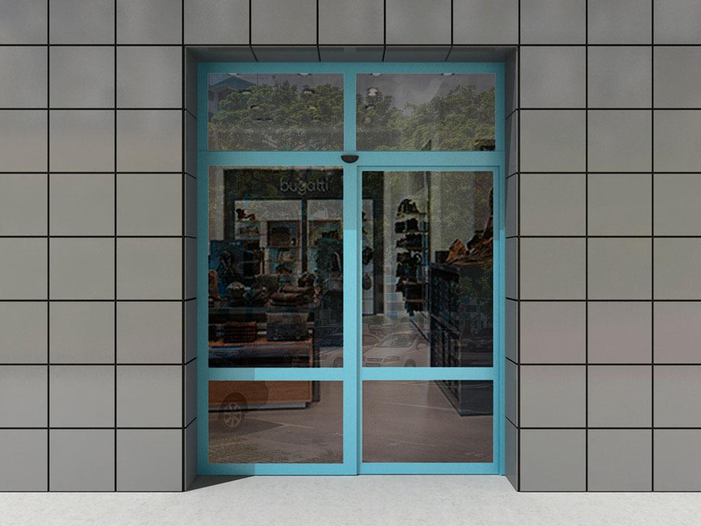 Одностворчатая дверь с одной неподвижной створкой и фрамугой ДорХан